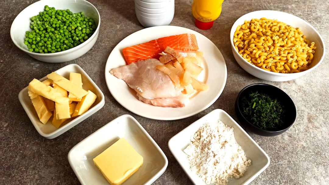 Les ingrédients de la fish pie mac 'n' cheese