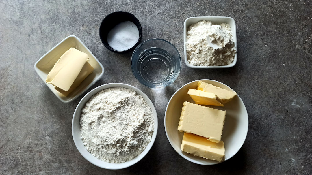 Les ingrédients pour la pâte feuilletée inversée