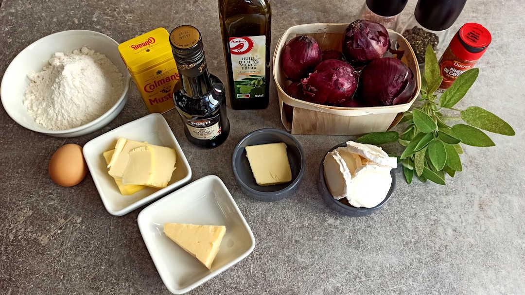 Les ingrédients de la tarte aux oignons rouges et chèvre