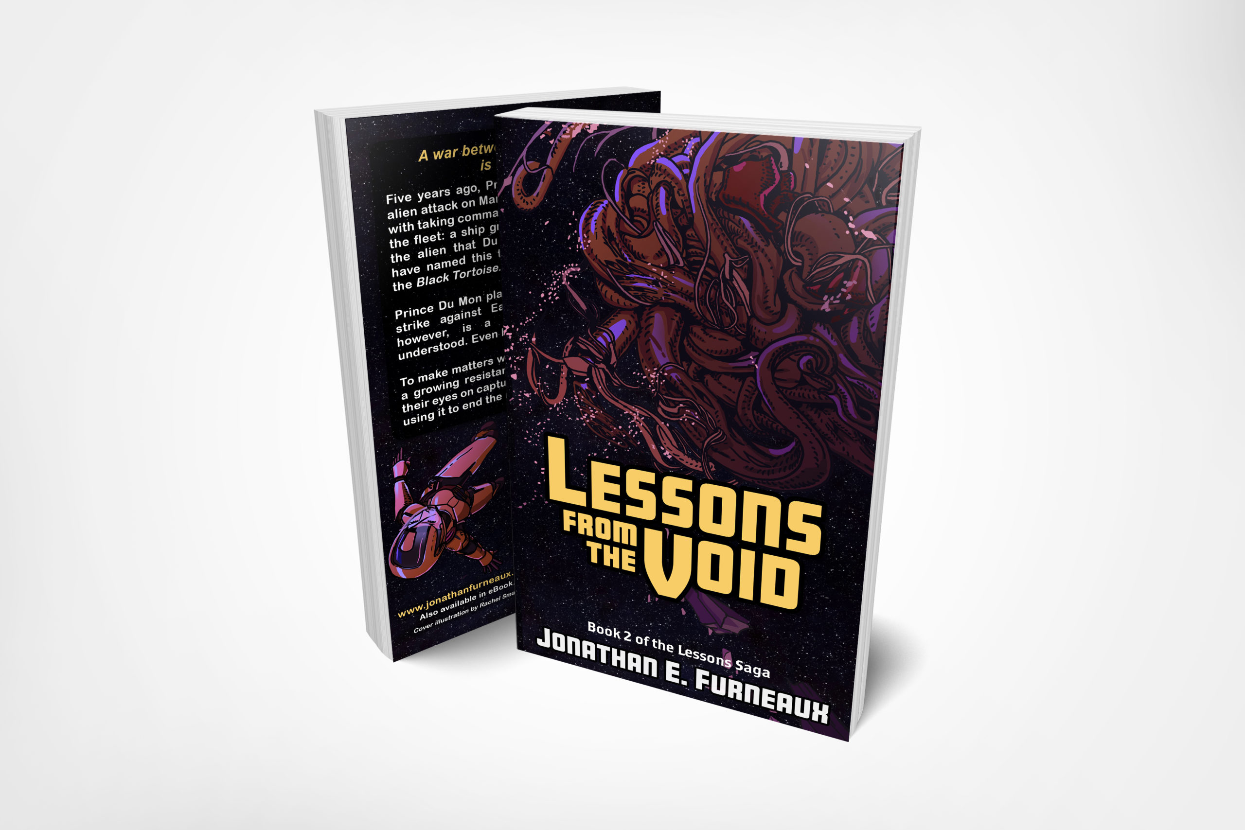 "A mockup of the book ""Lessons from the Void"". On the front it portrays debris floating through space, and a giant, tentacles space creature. On the back cover is the synposis, and a woman floating through space in a spacesuit."