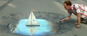 a Julian Beever's pavement drawing. amazing!!