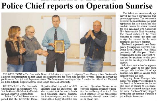 Article by Jon Hilton On Greenville Selectmen