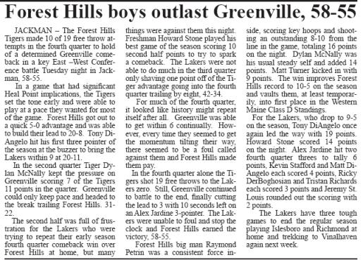 Greenville Boys Basketball vs Forest Hills