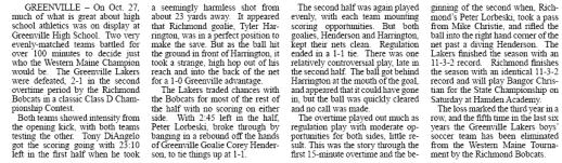 Article by Jon Hilton On Greenville boys soccer