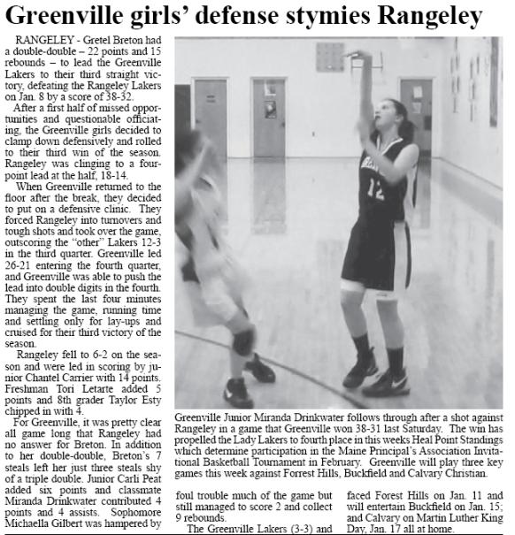 Greenville Girls Basketball vs Rangeley