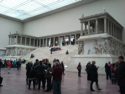 "My third day in Berlin was spent at Museum Island, a small island in the middle of the city with five world-class museums. The first I visited was the Pergamonmuseum (""Pergamon Museum""). This is the museum's eponymous exhibit: the colossal Pergamon Altar, moved in its entirery from Asia Minor to here."