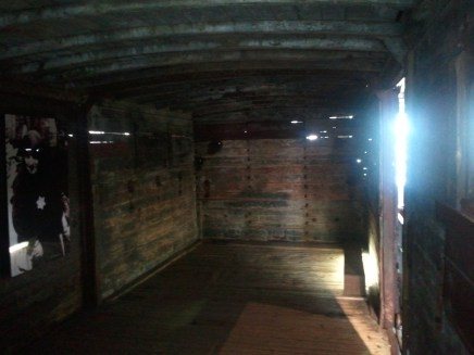 Interior of a rail car used to transport people to concentration camps.
