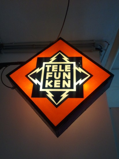 Technikmuseum: a sign for Telefunken, a German electronics manufacturer. This is perhaps the greatest company logo in the history of the world. :)