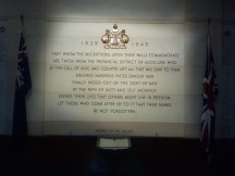 A plaque in the Auckland Museum's WWII Hall of Memories.
