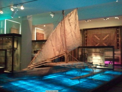 Auckland Museum: an outrigger canoe of the type used by the Maori, New Zealand's indigenous people.