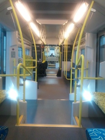 MOTAT: the interior mockup of Auckland's new electric train. Newfangled!