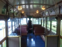 The interior of the early/mid-20th century tram that transports people between the various parts of MOTAT.