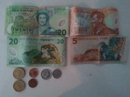New Zealand currency. Like the currency of most other countries, its paper money is differently sized based on value, to help the blind. I wish the US did that.