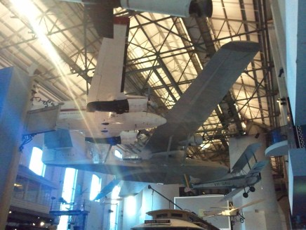 The airplanes of the Transport exhibit in the Powerhouse Museum.