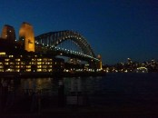 The Sydney Harbor Bridge at dusk, from the Circular Quay.