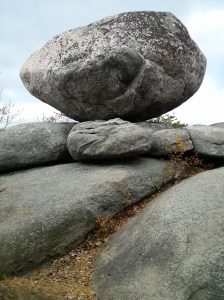 One of Old Rag's most prominent random rocks.