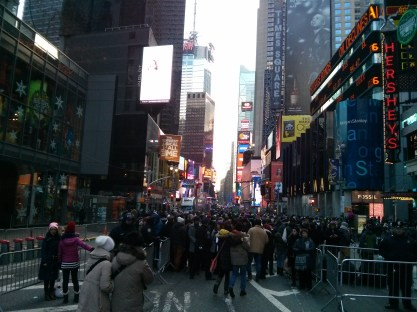 Just after I cleared the first police checkpoint to get into Times Square. I arrived in NYC at 2:30 p.m.; this was taken at 3:25.