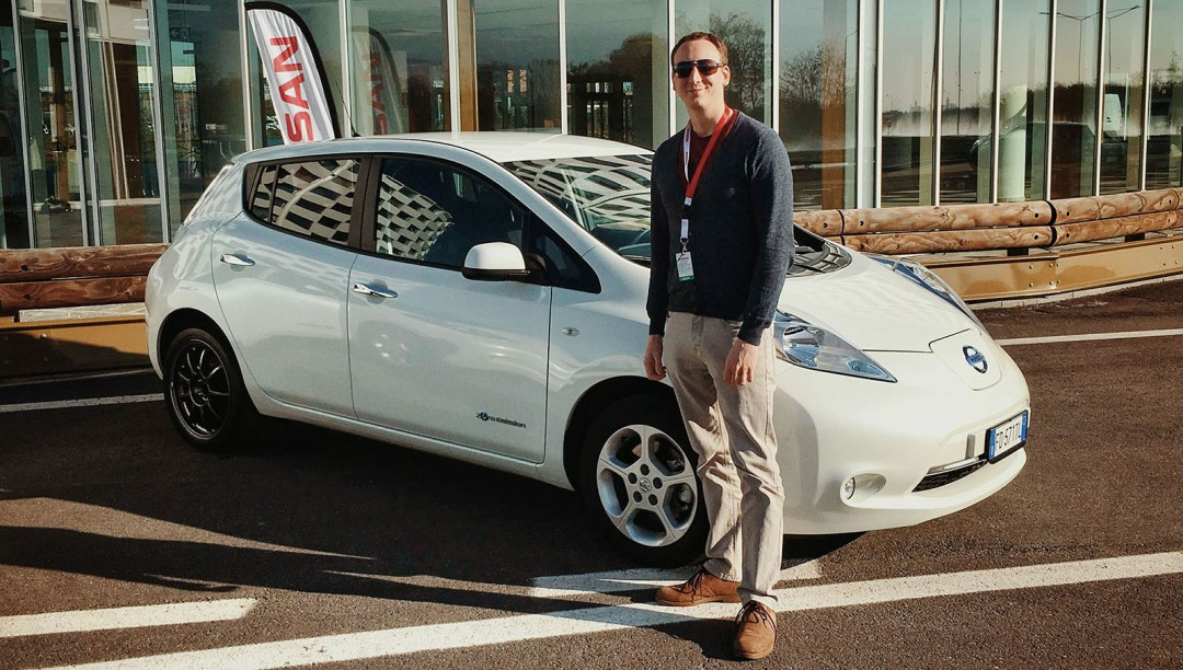 Jonathan Musk with Nissan Leaf
