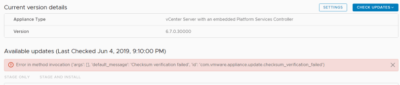 Error in method checksum verification failed.