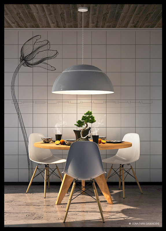 Orange and tea, breakfast for three. Modellazione e renderizzazione di interni in 3D