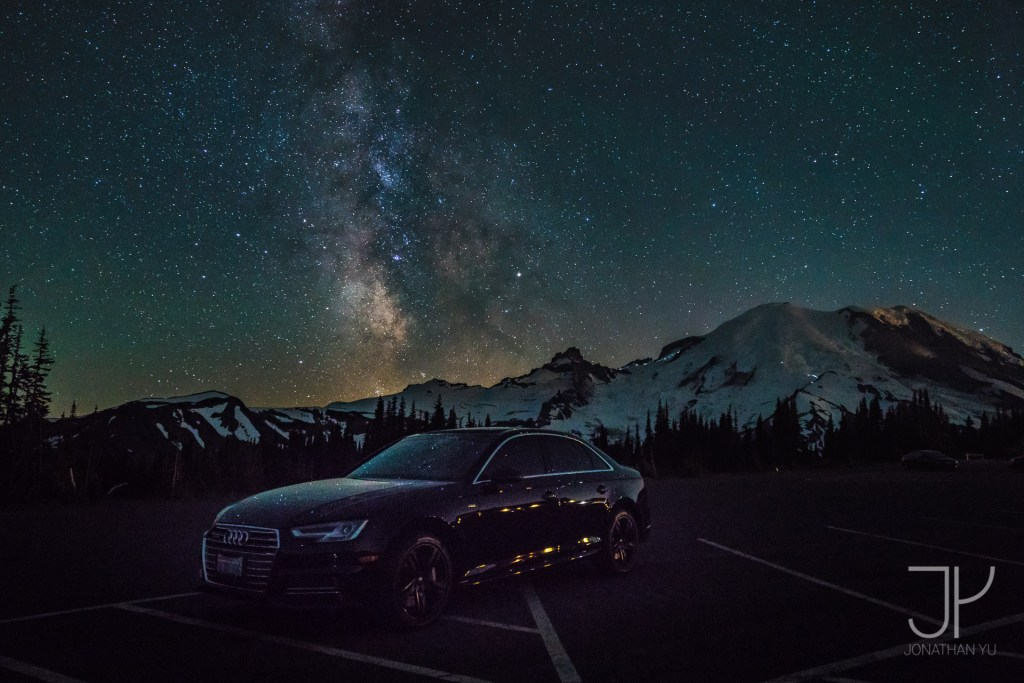 Mount Ranier with stars all around