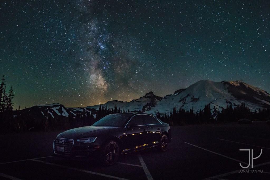 Mount Ranier with stars all around
