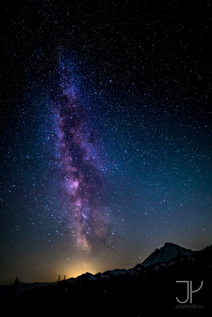 Summer Milky Way towers over Mount Baker
