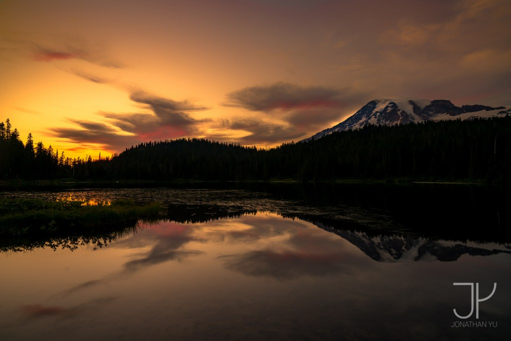 The last moments of light at Reflection Lake
