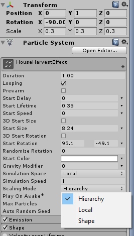 Unity Particle System Scaling Mode