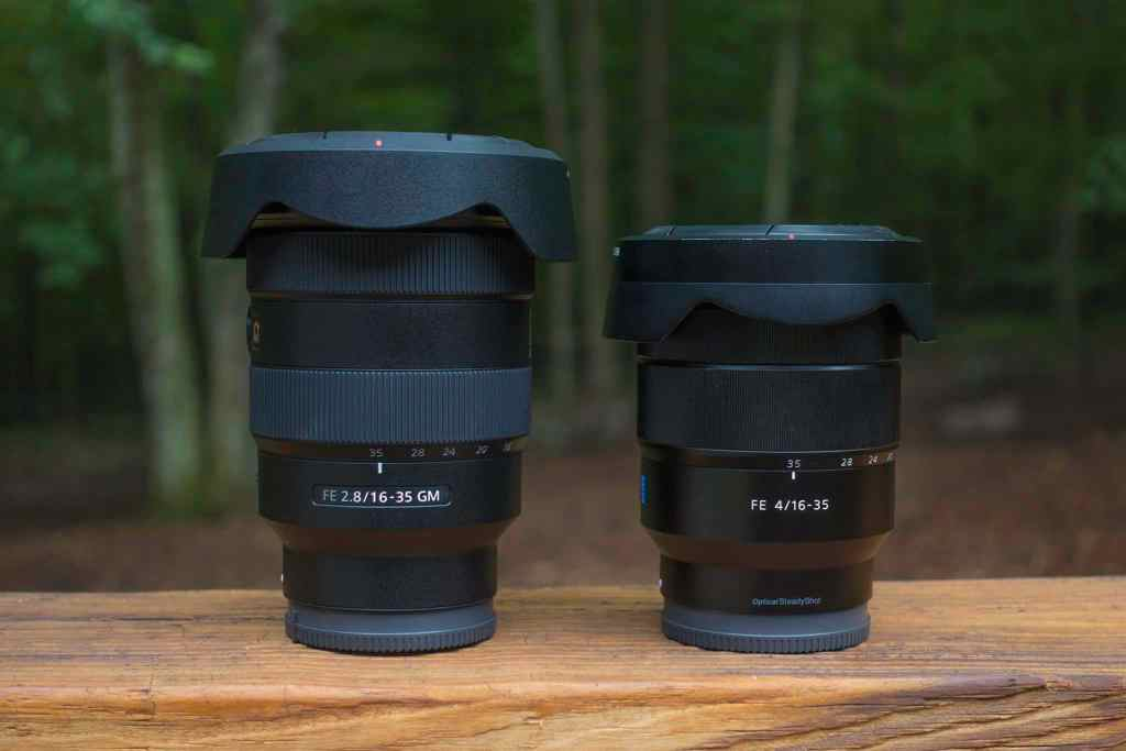 Side by side comparison of the F2.8 (right) and F4