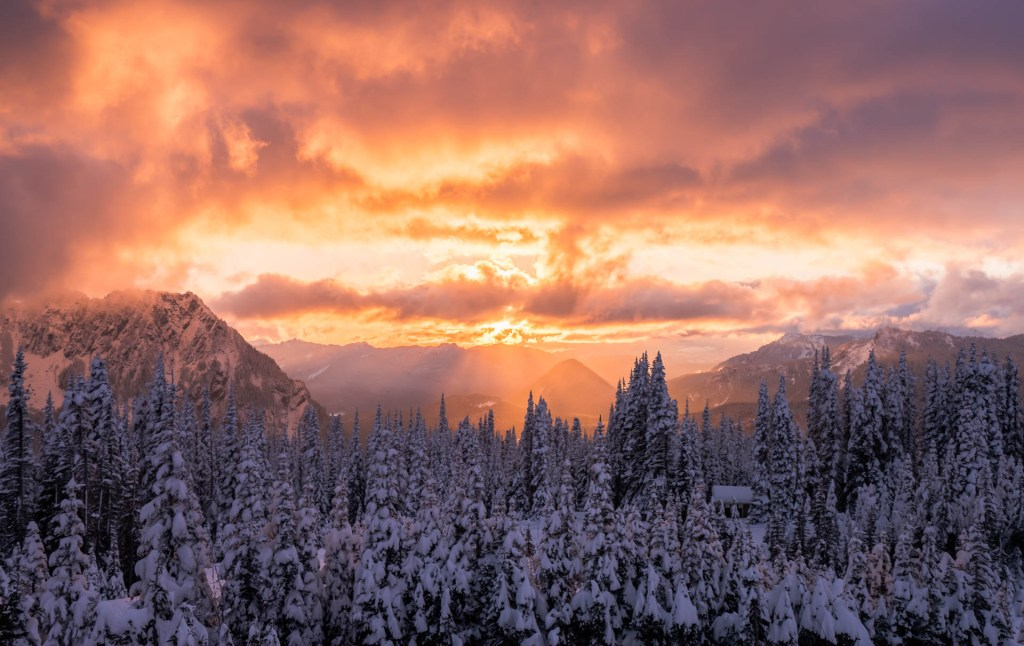 Mount Rainier winter sunset