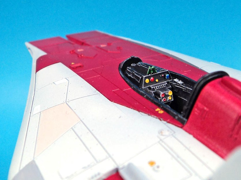 The cockpit features a high contrast background, and plenty of bright blinky lights, all of which will hopefully show well through the canopy.