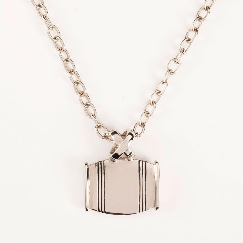 "Asa Medium Barrel Necklace ""X"" Horizontal In Gold Or Silver"