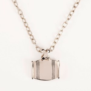 "Asa Medium Barrel Necklace ""X"" Horizontal In Gold Or Silver"