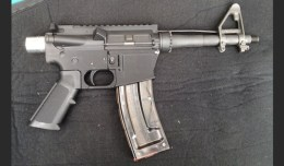 A functioning .22 caliber pistol with a 3-D printed lower receiver.