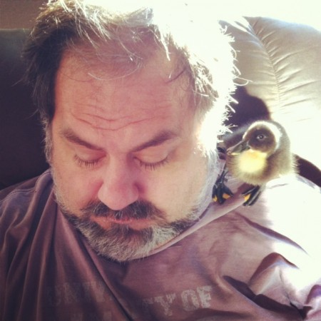 A man and his duckling