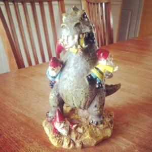 OM NOM NOM! Godzilla eat gnomes!