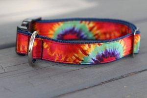 Silk tie dye dog collar from Darla Jane