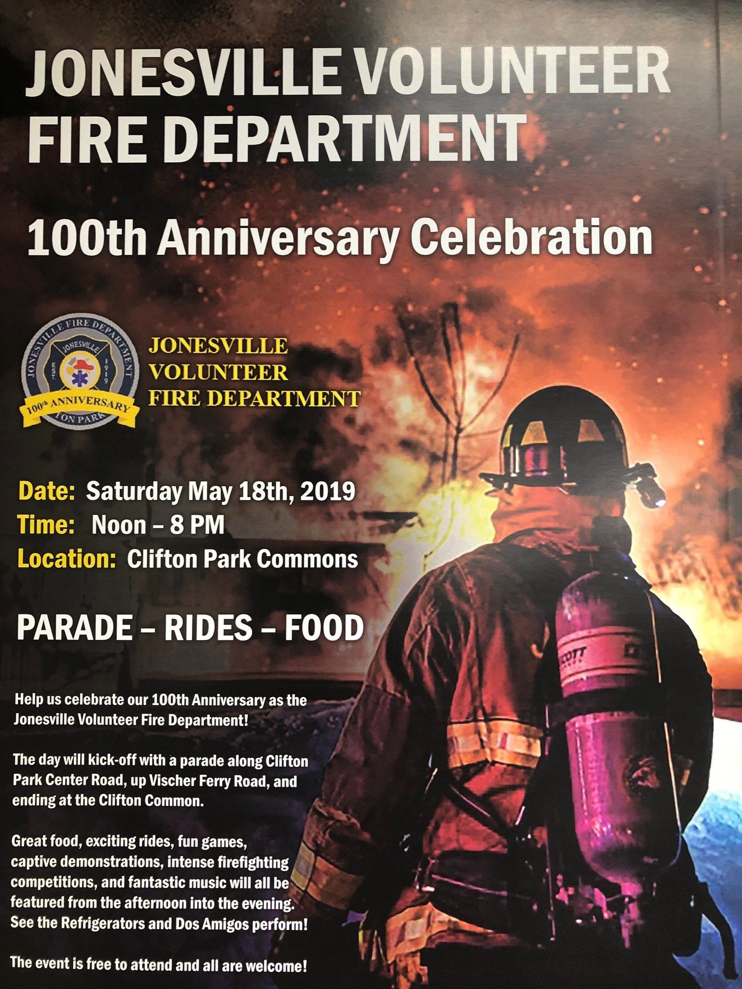 Jonesville Volunteer Fire Department 100th Anniversary Celebration Information