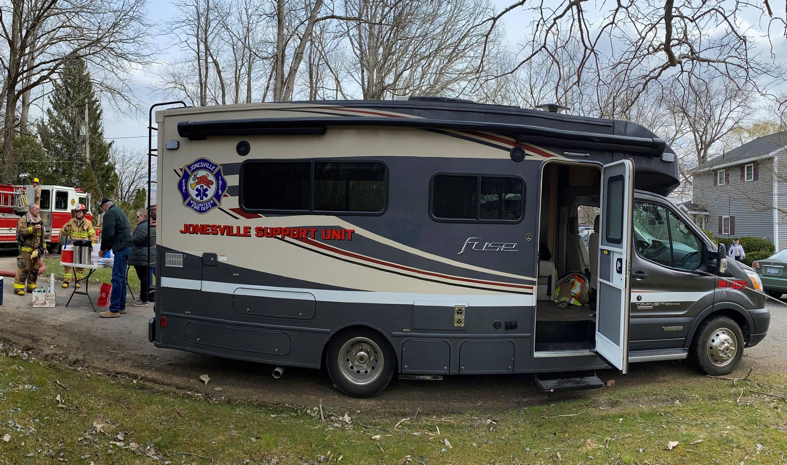 Jonesville FD M365 Rehab Vehicle at Fire Scene