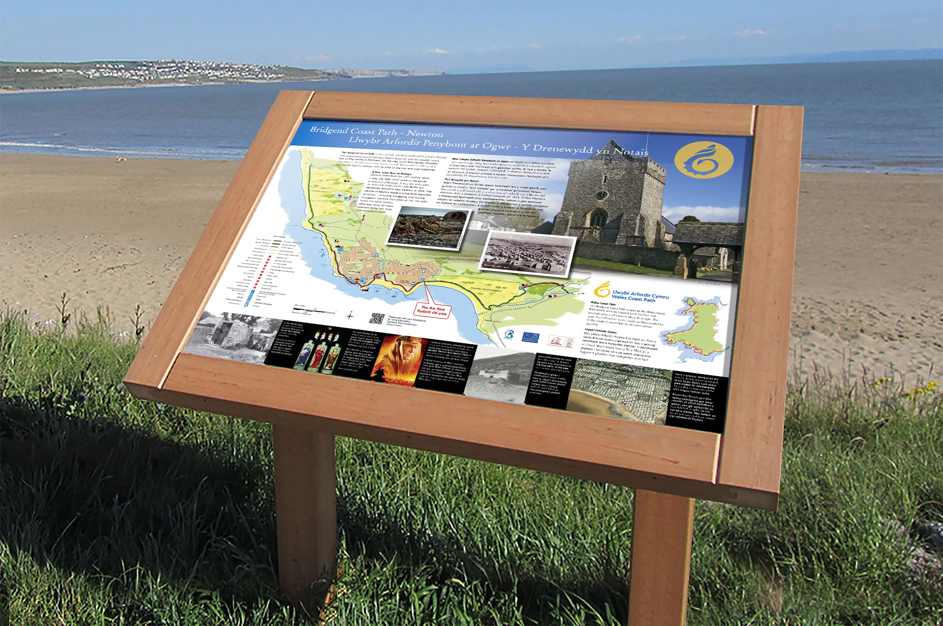 Interpretation panel Wales coast path