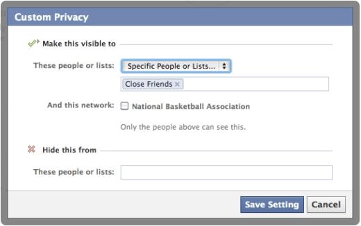 Default Facebook Privacy