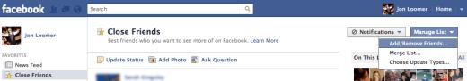 Manage Lists Facebook
