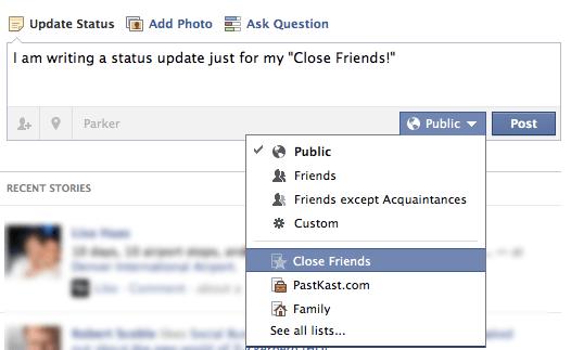 Facebook Status Update Privacy