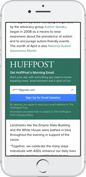 Email Signup Call-to-Action Unit Instant Articles
