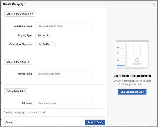Facebook Power Editor Quick Creation