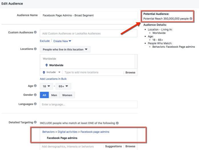 Facebook Page Admins General Interest Segment