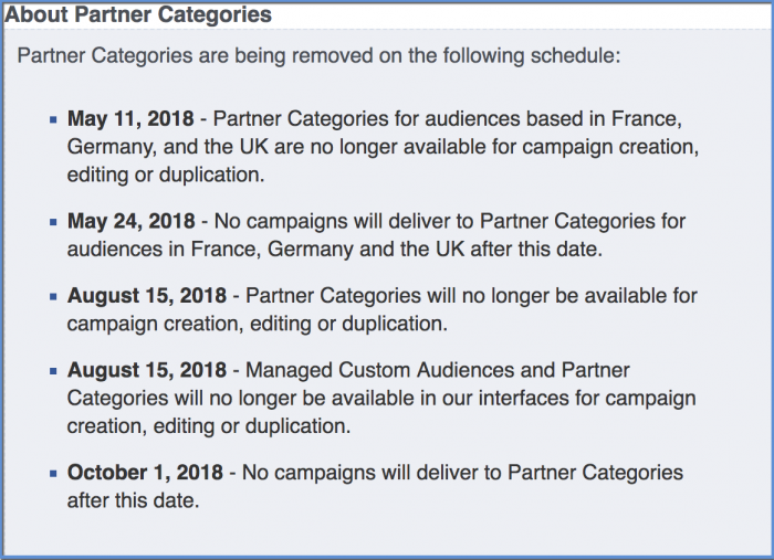 Facebook Partner Category Removal Schedule
