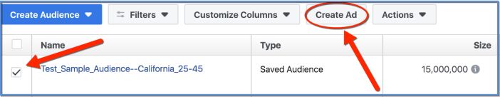 Create Ad with Saved Audience - Open Ads Manager