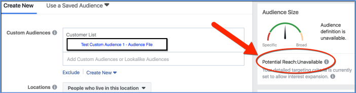 Facebook Custom Audience Potential Reach - Ads Manager - size unavailable